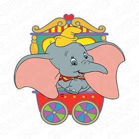 DUMBO IN WAGON CHARACTER T-SHIRT IRON-ON TRANSFER DECAL #CD5