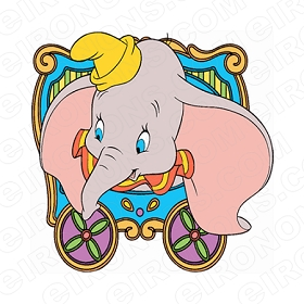 DUMBO IN WAGON CHARACTER T-SHIRT IRON-ON TRANSFER DECAL #CD6