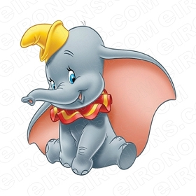 DUMBO SITTING CHARACTER T-SHIRT IRON-ON TRANSFER DECAL #CD10