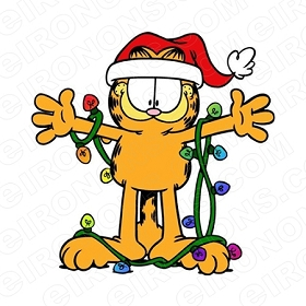GARFIELD WEARING CHRISTMAS LIGHTS HOLIDAY T-SHIRT IRON-ON TRANSFER DECAL #HC27