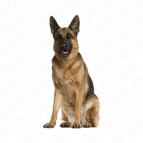 GERMAN SHEPHERD SITTING ANIMAL T-SHIRT IRON-ON TRANSFER DECAL #ADGS4