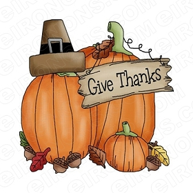 GIVE THANKS THANKSGIVING HOLIDAY T-SHIRT IRON-ON TRANSFER DECAL #HTG1