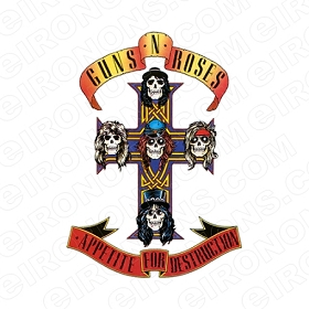 GUNS N' ROSES APPETITE FOR DESTRUCTION LOGO MUSIC T-SHIRT IRON-ON TRANSFER DECAL #MGNR4