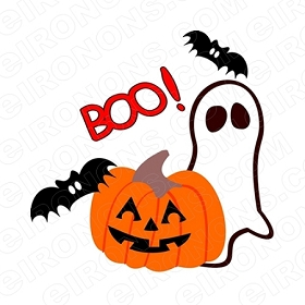 BOO! HALLOWEEN T-SHIRT IRON-ON TRANSFER DECAL #HH1