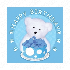 HAPPY BIRTHDAY BEAR BLUE BOY SAYINGS T-SHIRT IRON-ON TRANSFER DECAL #BS20
