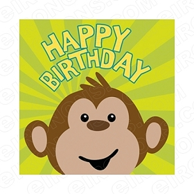 HAPPY BIRTHDAY MONKEY SAYINGS T-SHIRT IRON-ON TRANSFER DECAL #BS23
