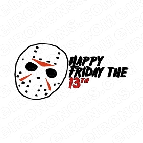 HAPPY FRIDAY THE 13TH LOGO MOVIE T-SHIRT IRON-ON TRANSFER DECAL # JVH10