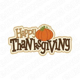 HAPPY THANKSGIVING HOLIDAY T-SHIRT IRON-ON TRANSFER DECAL #HTG2