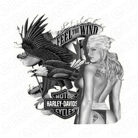 HARLEY-DAVIDSON FEEL THE WIND MOTORCYCLE T-SHIRT IRON-ON TRANSFER DECAL #MCHD4