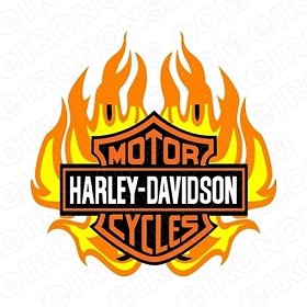 HARLEY-DAVIDSON FLAME LOGO MOTORCYCLE T-SHIRT IRON-ON TRANSFER DECAL #MCHD5