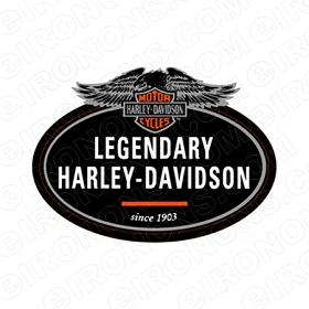HARLEY-DAVIDSON LEGENDARY MOTORCYCLE T-SHIRT IRON-ON TRANSFER DECAL #MCHD7