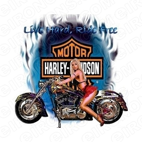 HARLEY-DAVIDSON LIVE HARD, RIDE FREE MOTORCYCLE T-SHIRT IRON-ON TRANSFER DECAL #MCHD8