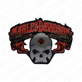 HARLEY-DAVIDSON SKULL LOGO MOTORCYCLE T-SHIRT IRON-ON TRANSFER DECAL #MCHD12