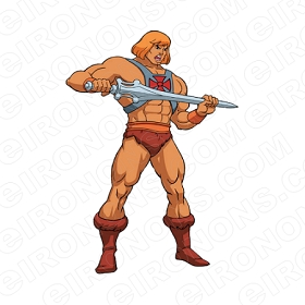 HE-MAN HOLDING SWORD COMIC T-SHIRT IRON-ON TRANSFER DECAL #CHM2