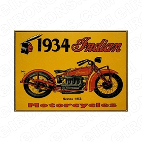 INDIAN 1934 MOTORCYCLE T-SHIRT IRON-ON TRANSFER DECAL #MCI5