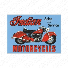 INDIAN SALES AND SERVICE MOTORCYCLE T-SHIRT IRON-ON TRANSFER DECAL #MCI4