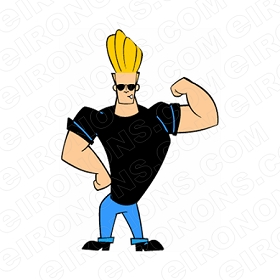 JOHNNY BRAVO ARM UP CHARACTER T-SHIRT IRON-ON TRANSFER DECAL #CJB2