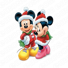 MICKEY & MINNIE MOUSE CHRISTMAS HOLIDAY T-SHIRT IRON-ON TRANSFER DECAL #HC19