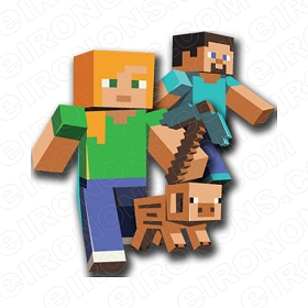 MINECRAFT GROUP POSE VIDEO GAME T-SHIRT IRON-ON TRANSFER DECAL #VMC2