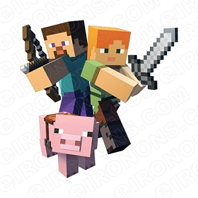 MINECRAFT GROUP POSE VIDEO GAME T-SHIRT IRON-ON TRANSFER DECAL #VMC3