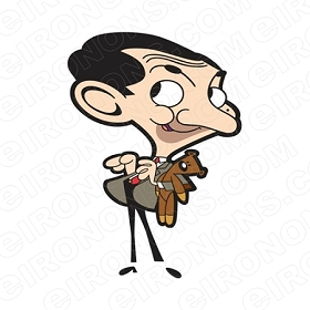 MR BEAN HOLDING TEDDY TV T-SHIRT IRON-ON TRANSFER DECAL #TVMB7