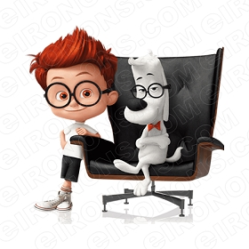 MR PEABODY & SHERMAN SITTING IN CHAIR CHARACTER T-SHIRT IRON-ON TRANSFER DECAL #CMPAS11