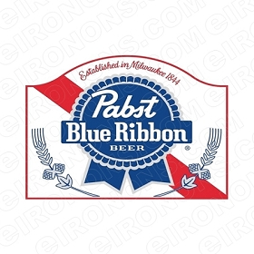 PABST BLUE RIBBON BEER LOGO ALCOHOL T-SHIRT IRON-ON TRANSFER DECAL #APBR3
