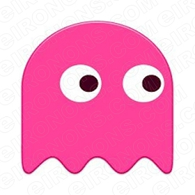 PAC-MAN PINK GHOST VIDEO GAME T-SHIRT IRON-ON TRANSFER DECAL #VPM6