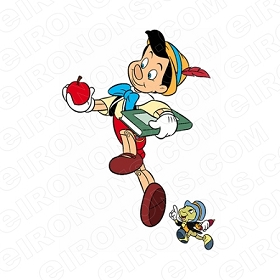 PINOCCHIO AND JIMINY CRICKET SKIPPING CHARACTER T-SHIRT IRON-ON TRANSFER DECAL #CP1