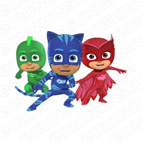 PJ MASKS GROUP POSE 1 CHARACTER T-SHIRT IRON-ON TRANSFER DECAL #CPJM7