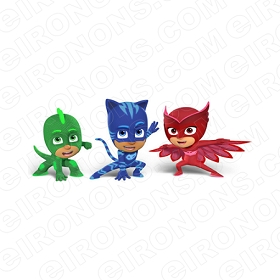 PJ MASKS GROUP POSE 3 CHARACTER T-SHIRT IRON-ON TRANSFER DECAL #CPJM9