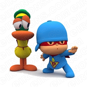 POCOYO AND PATO CHARACTER T-SHIRT IRON-ON TRANSFER DECAL #CP1