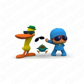 POCOYO GROUP POSE CHARACTER T-SHIRT IRON-ON TRANSFER DECAL #CP10