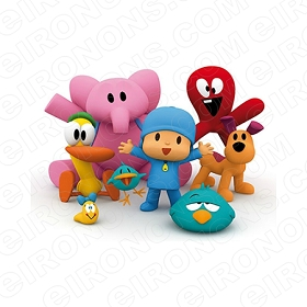 POCOYO GROUP POSE CHARACTER T-SHIRT IRON-ON TRANSFER DECAL #CP12