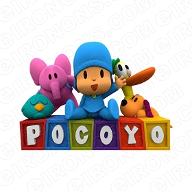POCOYO GROUP POSE ON LOGO CHARACTER T-SHIRT IRON-ON TRANSFER DECAL #CP13
