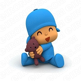 POCOYO HUGGING TEDDY CHARACTER T-SHIRT IRON-ON TRANSFER DECAL #CP16