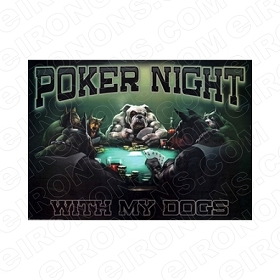 POKER NIGHT ANIMAL T-SHIRT IRON-ON TRANSFER DECAL #APN1