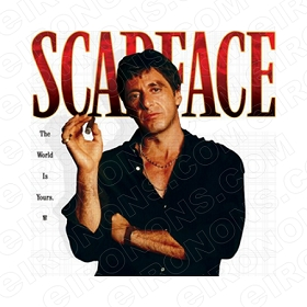 SCARFACE THE WORLD IS YOURS AL PACINO TONY MONTANA MOVIE T-SHIRT IRON-ON TRANSFER DECAL #MSF4