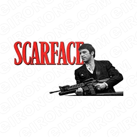 SCARFACE LOGO RED AL PACINO TONY MONTANA MOVIE T-SHIRT IRON-ON TRANSFER DECAL #MSF2