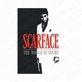 SCARFACE THE WORLD IS YOURS LOGO RED AL PACINO TONY MONTANA MOVIE T-SHIRT IRON-ON TRANSFER DECAL #MSF6