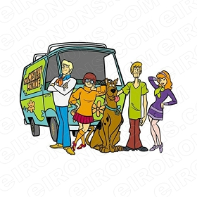 SCOOBY-DOO GROUP POSE IN FRONT OF THE MYSTERY MACHINE CHARACTER T-SHIRT IRON-ON TRANSFER DECAL #CSD4