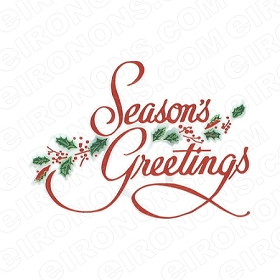 SEASON'S GREETINGS CHRISTMAS HOLIDAY T-SHIRT IRON-ON TRANSFER DECAL #HC14