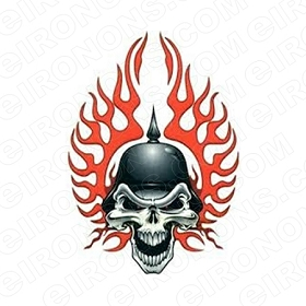 SKULL BIKER T-SHIRT IRON-ON TRANSFER DECAL #S3