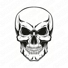 SKULL BLACK EYES T-SHIRT IRON-ON TRANSFER DECAL #S4