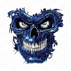 SKULL BLUE T-SHIRT IRON-ON TRANSFER DECAL #S5