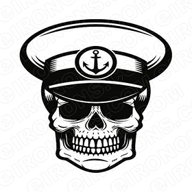 SKULL CAPTAIN T-SHIRT IRON-ON TRANSFER DECAL #S6