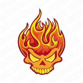SKULL FLAME T-SHIRT IRON-ON TRANSFER DECAL #S8