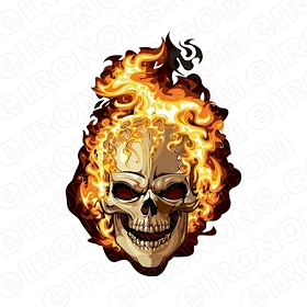 SKULL FLAME T-SHIRT IRON-ON TRANSFER DECAL #S9