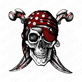 SKULL PIRATE T-SHIRT IRON-ON TRANSFER DECAL #S15