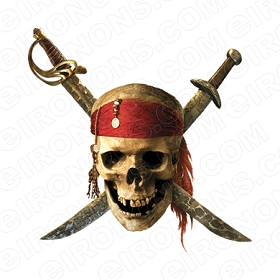 SKULL POTC T-SHIRT IRON-ON TRANSFER DECAL #S18
